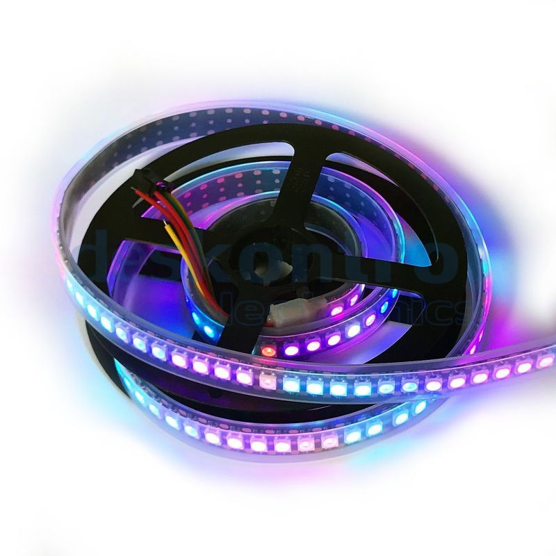 RGB digital led strip SK6812 144 leds 34w 1 meter PCB black on